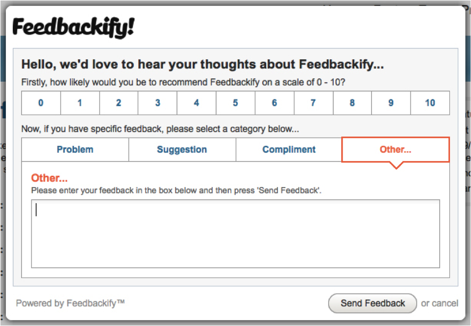 Feedbackify feedback form