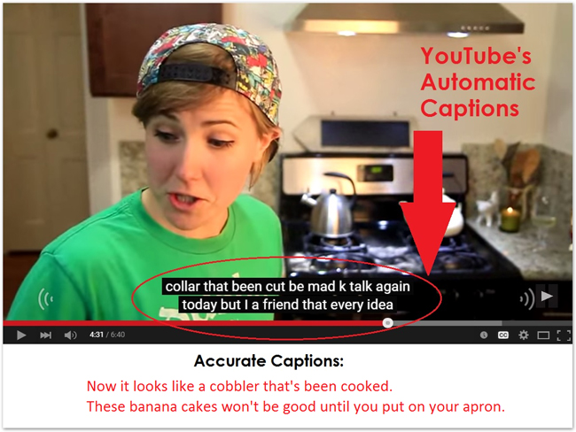 Example of how YouTube auto captioning can have errors and why you need to review the captions
